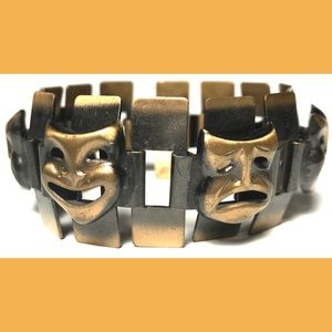 Unsigned Jewelry - Comedy Tragedy and Modernist Copper Bracelet Set